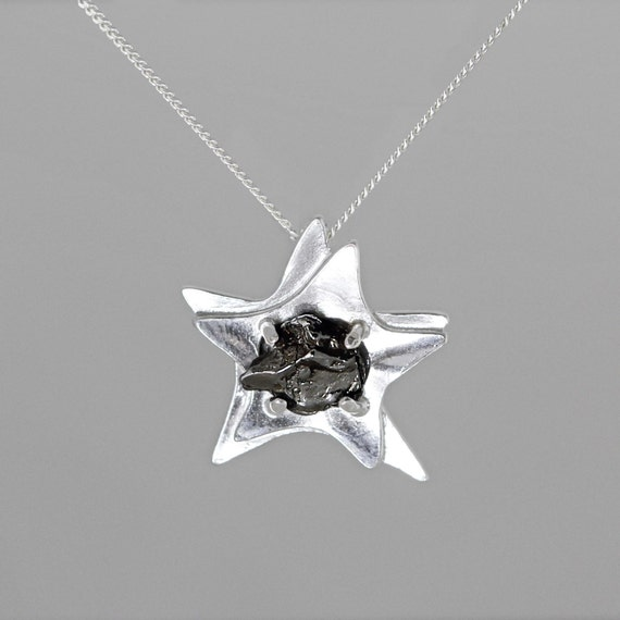 Star Space Necklace with Real Meteorite - Sterling Silver - Meteorite  Necklace - Meteorite Pendant - Meteorite Jewellery - Meteorite Jewelry