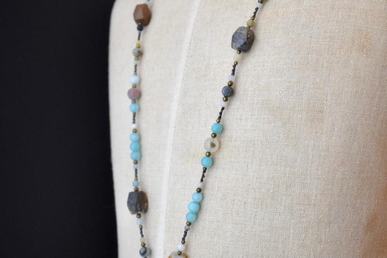 Blue Dyed Jasper Beaded Necklace!
