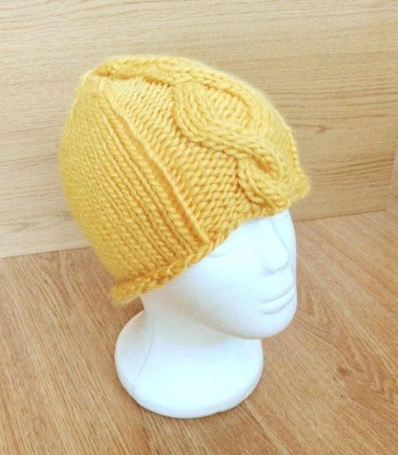 Yellow hand knit woollen womens winter hat with cable pattern  b61d23bd2893