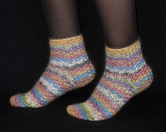 Knee Wool Socks for Women in Gray and White with Squirrel Pattern Made in Russia