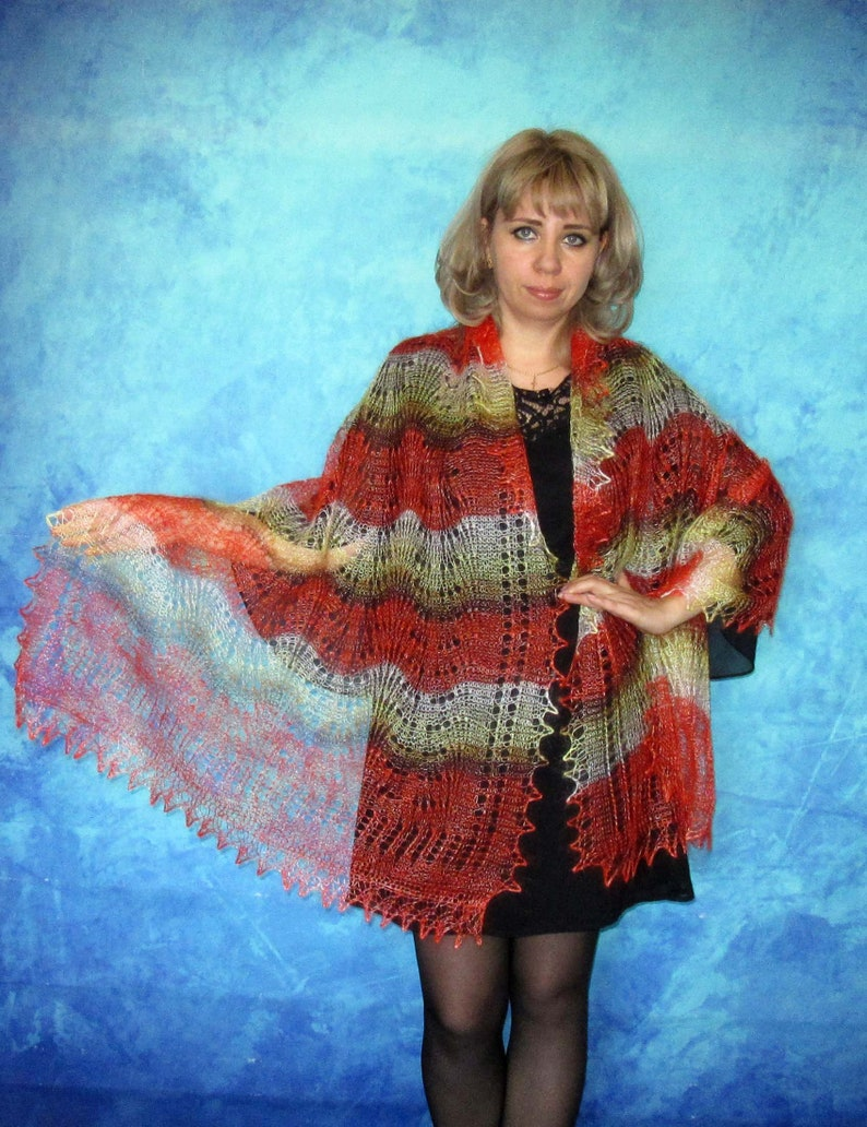 PASHMINA COLOR RED RUSSIAN ORENBURG LACE KNITTED SHAWL SCARF