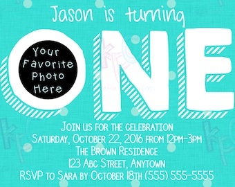 """5""""x7"""" Turning One Turquoise Polka Dot 1st Birthday Printable Invitation {Digital File Only}"""