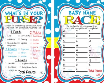 Baby Shower Game Pack Red Blue Yellow Polka Dots INSTANT DOWNLOAD {Digital File Only}