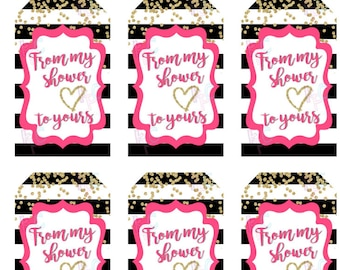 From My Shower to Yours Gold Confetti Printable 1.5x2.5 inch Favor Tags 18/sheet Pink {Digital File Only INSTANT DOWNLOAD}