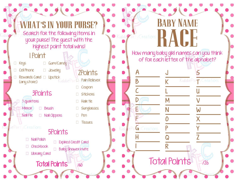 Pink Polka Dot Baby Shower Game Pack {Digital File Only}