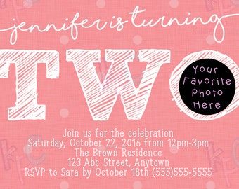 "5""x7"" Turning Two Bright Pink Polka Dot Birthday Printable Invitation {Digital File Only}"