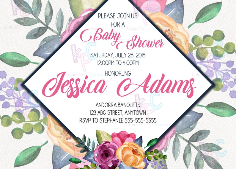 Printable Floral Baby Shower Invitation With Gift Registy Etsy