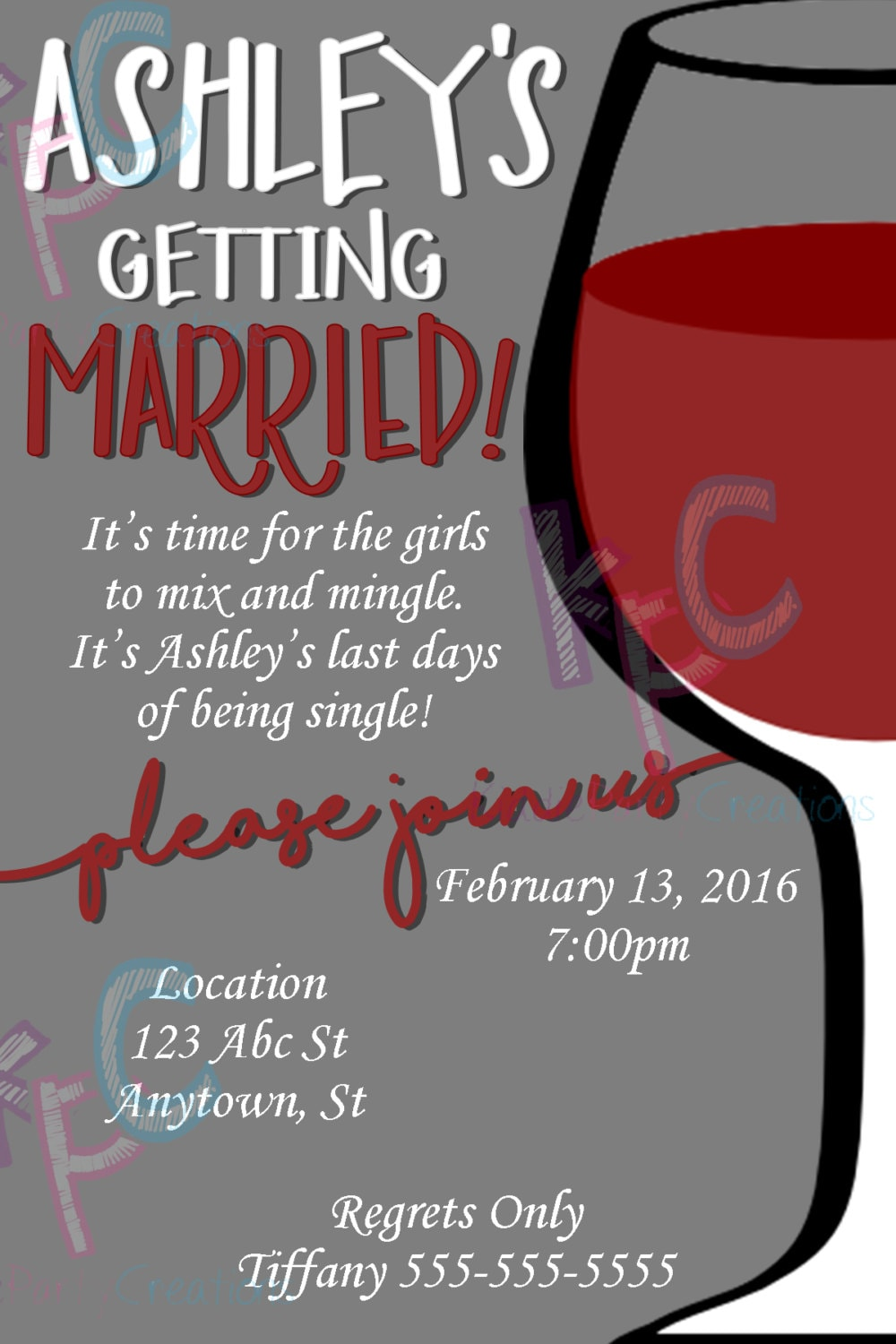 Girls Night Out/Bachelorette Party Wine Invitation Digital | Etsy