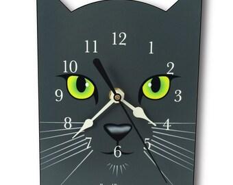 Grey Cat Clock, wall clock or table clock