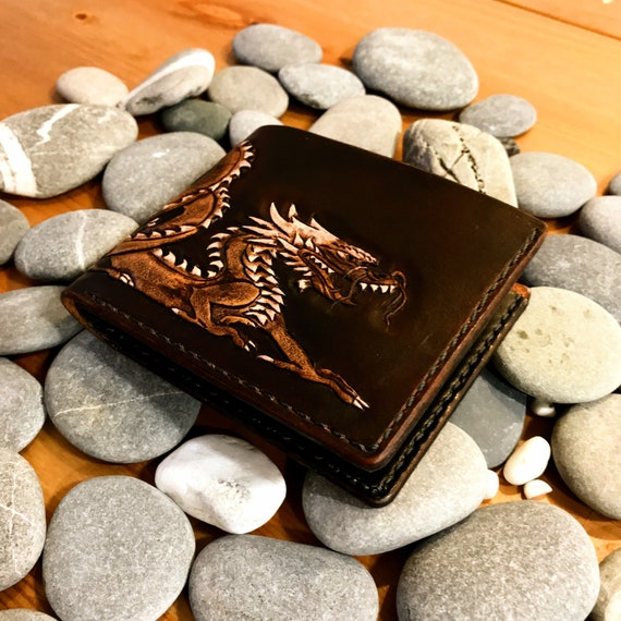 c6a91324bb Personalized RED DRAGON Bi-fold leather wallet