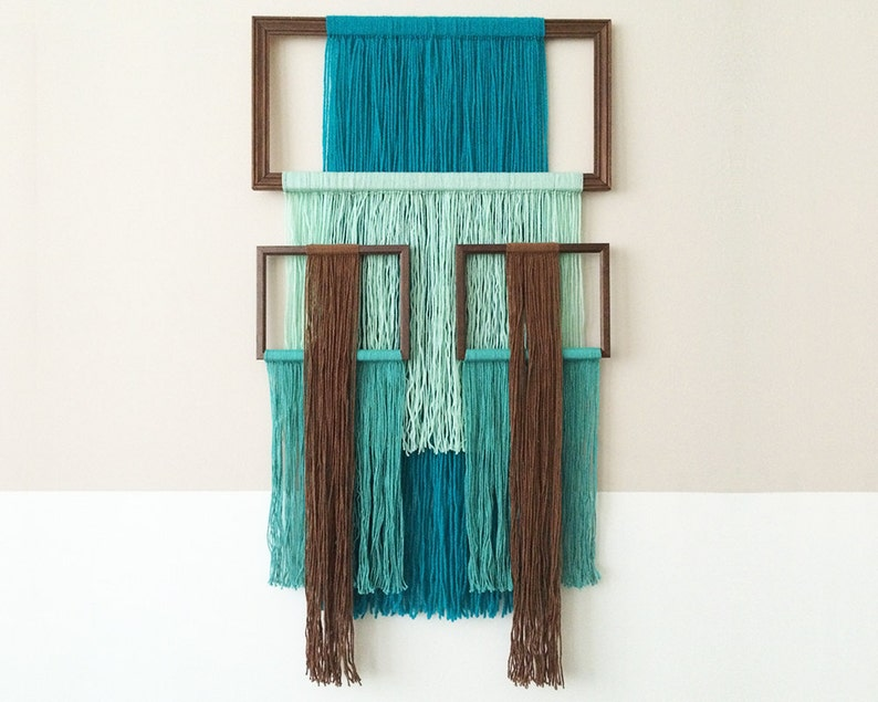 macrame wall hanging with picture frames  light blue image 0