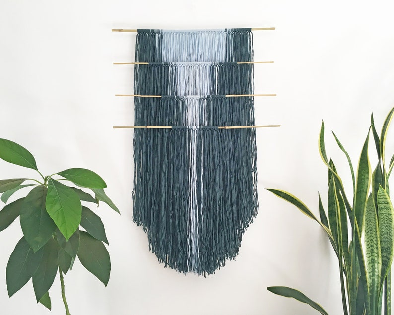 macrame wall hanging with color gradient and bamboo dowels  image 0