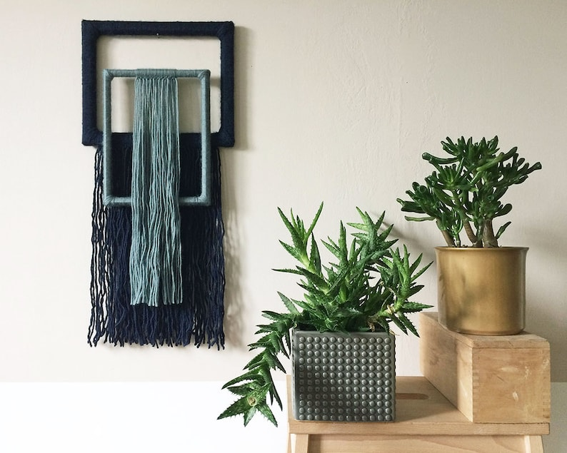 textile wall hanging  yarn wrapped picture frames  geometric image 0