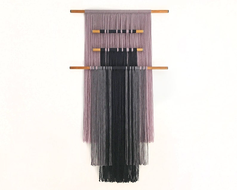 macrame wall hanging with colored wooden dowels  textile wall image 0
