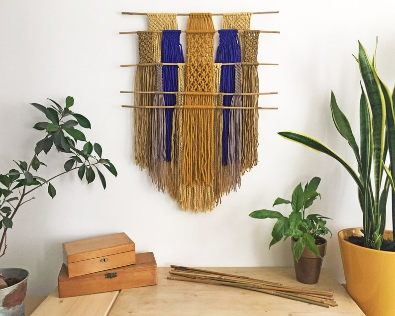 macrame wall hanging with bamboo sticks  colorful tapestry  image 0