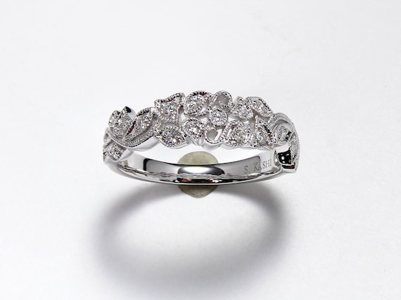 Floral Diamond Band | Floral Stacking Band | Flora
