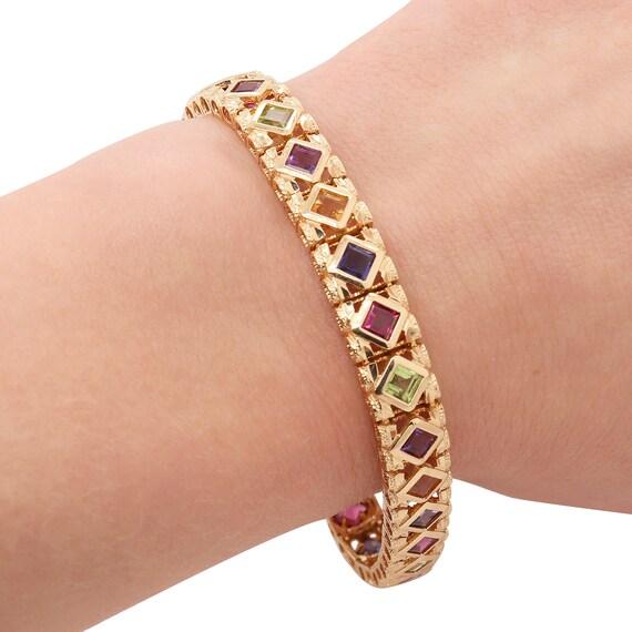 Multi-Stone Gold Bracelet | Rainbow Bracelet | Gol