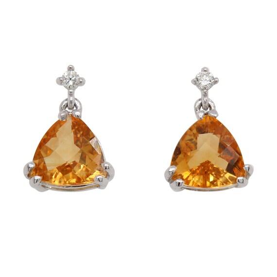 Citrine and Diamond Earrings - November Birthstone