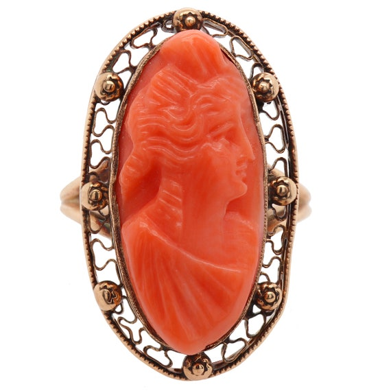 Antique Victorian Ring - Coral Cameo