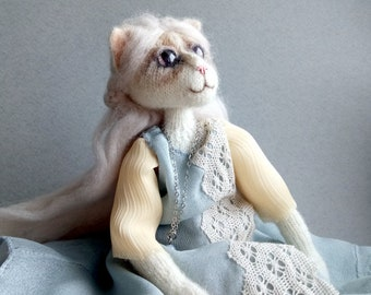 Cat Art Doll Animal, Knitted Cat Interior Doll, Cat Figure, Yarn Animal Toy, cat doll soft toy, Boudoir Dress Doll, Ready to Ship