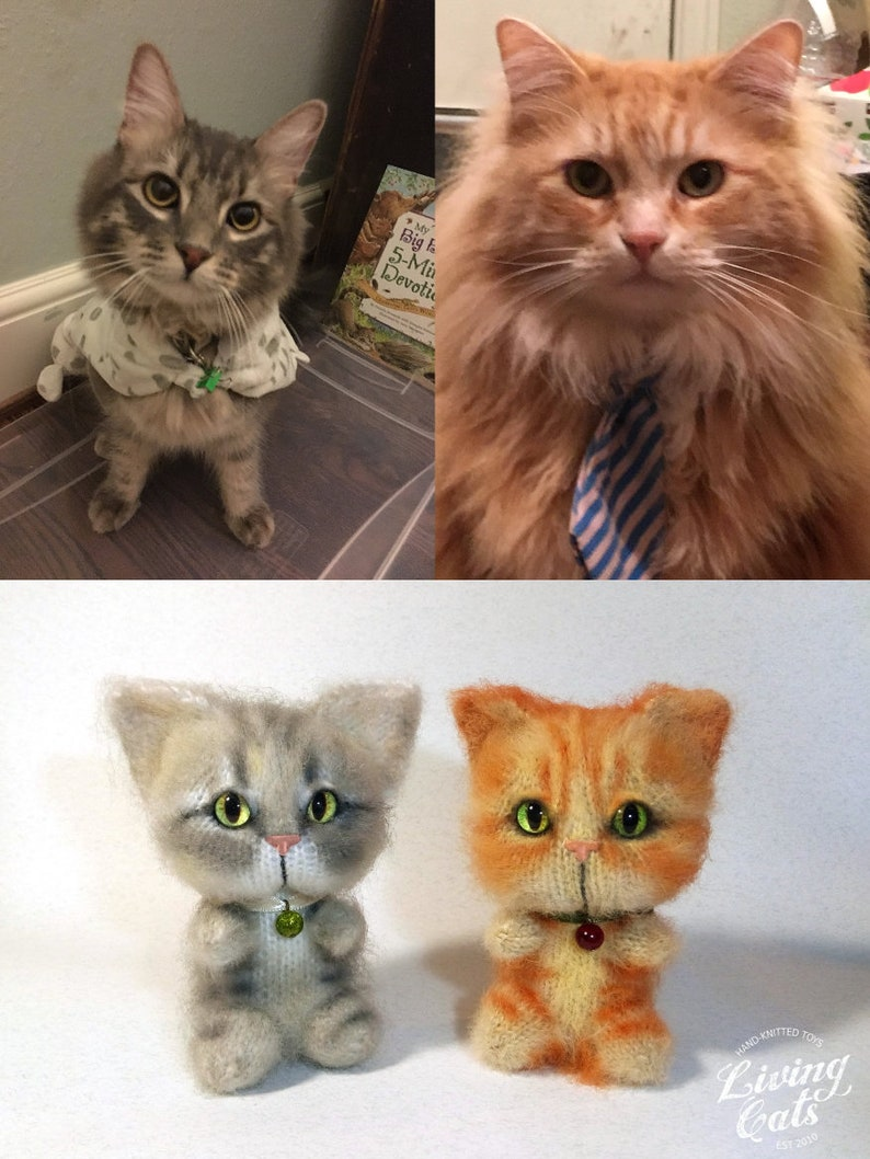 Custom Stuff Cat Cat Plushie Art Custom Pet Portrait Personalized Knitted Toys Cat Lover Gift Cat Birthday Gifts Custom Plushie