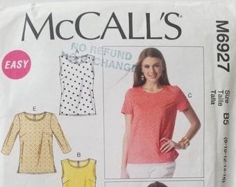 McCall's  6927 Ladies Tops Pattern Sizes 8-10-12-14-16 UNCUT