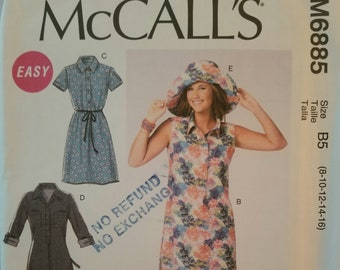 McCall's 5885 Ladies Dress and Hat Pattern Sizes 8-10-12-14-16 UNCUT