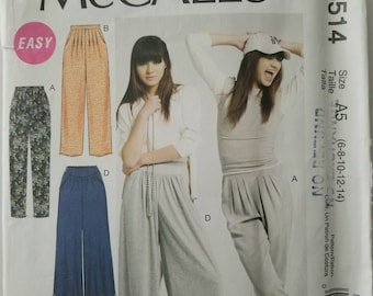 McCall's 6514 Misses Pants Tapered Straight Flared Sizes 6-8-10-12-14 UNCUT