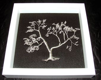 Silver plated wire tree handmade in a glazed box frame 23 cm by 23 cm