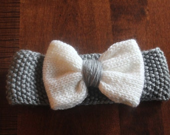Hand-knitted headband with bow