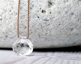 Rock Crystal necklace. Clear quartz necklace. Minimalist silk necklace with a Rock Crystal briolette. Rock Crystal pendant. Gifts for her