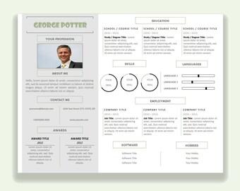 Microsoft Word Horizontale Lebenslauf Vorlage Cv Template Etsy