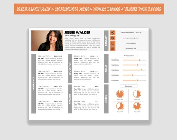Horizontal Resume Template CV Template Pack for Microsoft Word | Etsy