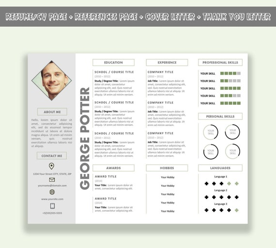 microsoft word horizontal resume template    cv template pack