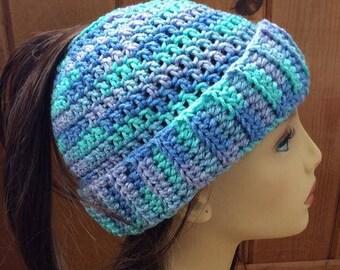 Messy Bun Ponytail Hat - Pastel Blue, Green and Purple