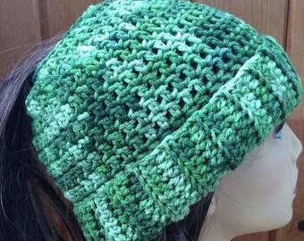 Messy Bun Ponytail Hat - Shades of Green Variegated