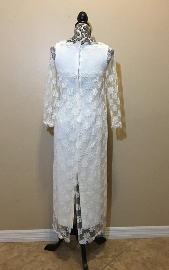 Lace Boho Dress Long Vintage Dress Wedding Lace 1960s Sleeve Wedding 0BzqUSFWq