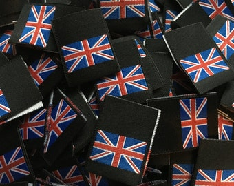 Union Jack Flag Woven Label Clothing Garment Labels 25mm Loop folded labels for clothes or Accessories