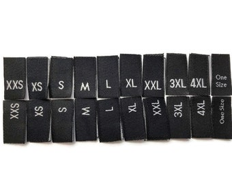 Woven Black Size Label Tabs Size XXS XS S M L XL Xxl 3XL 4XL 5XL 1S Clothing Garment Accessories Woven Labels Cut and Loop Folded Size Tags