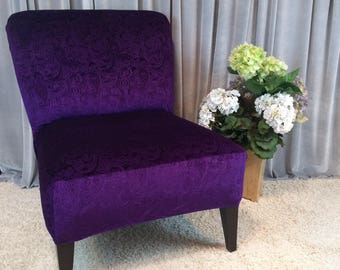Superbe Plum Purple Embossed Velvet Slipcover Chair Cover For Armless Chair,Slipper  Chair, Accent Chair,Parsons Chair,Gold,Gray, Rust,Coral,Green