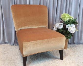 Slipcover Gold Velvet Chair Cover For Armless Chair, Slipper Chair, Accent  Chair, Parsons
