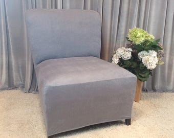 Slipcover Teal Suede Chair Cover For Armless Chair Slipper