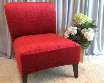 Merveilleux Rust Embossed Velvet Slipcover Chair Cover For Armless Chair,Slipper Chair,  Accent Chair,Parsons Chair, Emerald Green,Coral,Black
