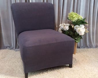Charmant More Colors. Slipcover Dark Gray Suede Stretch Chair Cover For Armless ...