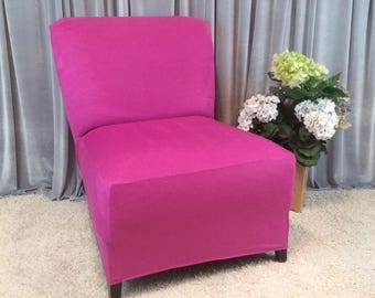 Quick View. More Colors. Slipcover Magenta Suede Chair ...