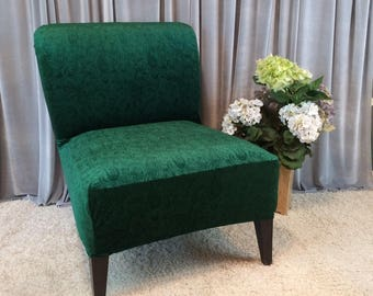 Emerald Green Embossed Velvet Slipcover Chair Cover For Armless Chair,Slipper  Chair, Accent Chair,Parsons Chair,Gold,Gray, Rust,Coral,Black