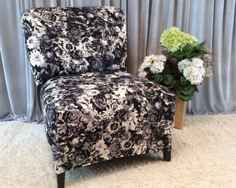 Black And White Floral Slipcover Chair Cover For Armless Chair, Slipper  Chair, Accent Chair, Parsons Chair