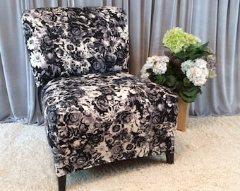 Quick View. Black And White Floral Slipcover Chair ...