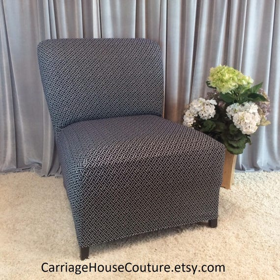 Stupendous Slipcover Black White Weave Stretch Chair Cover For Armless Chair Slipper Chair Armless Accent Chair Parsons Chair Side Chair Creativecarmelina Interior Chair Design Creativecarmelinacom