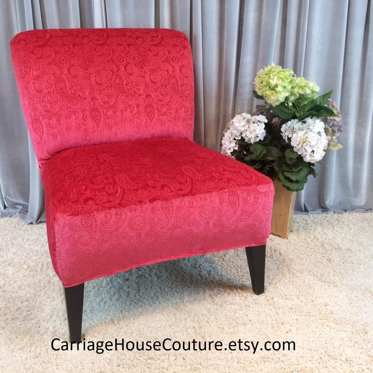 Living Coral Pink Embossed Velvet Slipcover Chair Cover